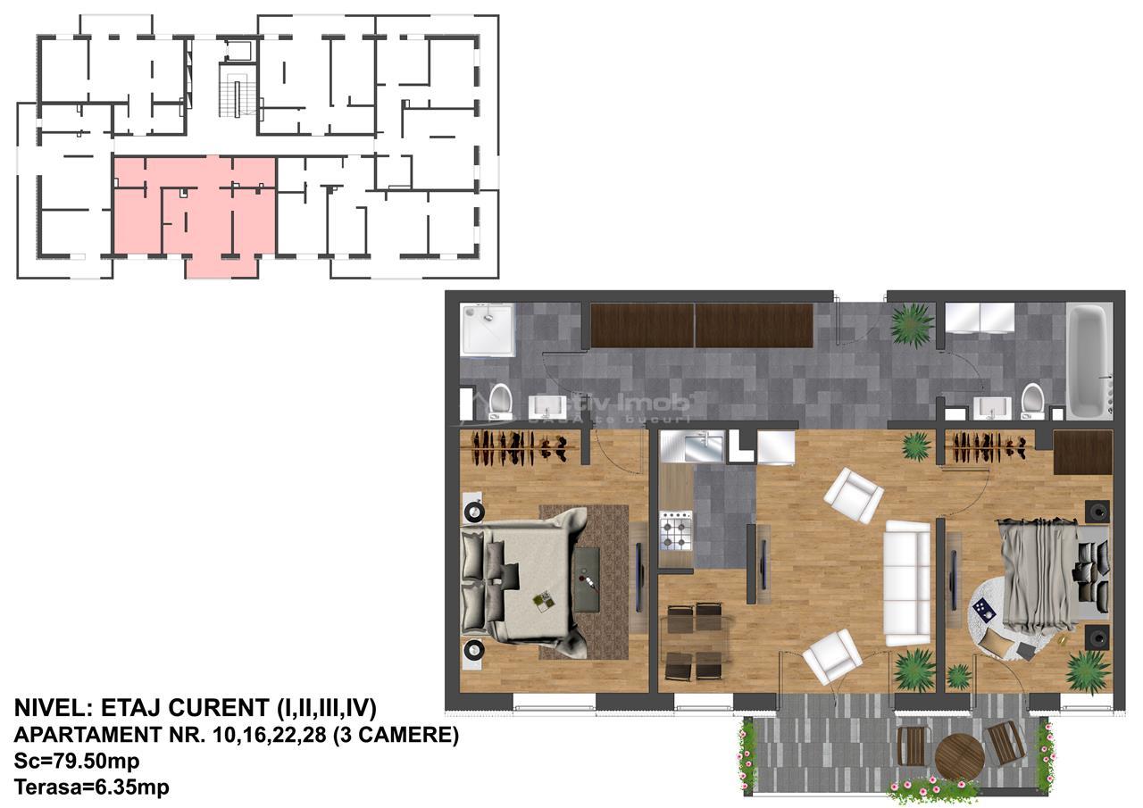 3 camere  Apartament NOU  80 mp  FINISAT la cheie