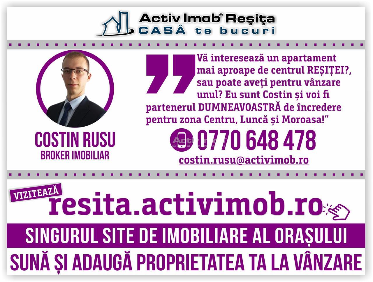 Resita, 2 Cam., Renovat, Mobilat + Utilat LUX, Lunca
