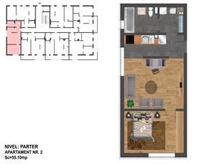 2 camere+ dressing-Nou-55mp-Zona Terra- Plata integrala