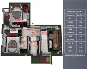 Titanul Nou 3 camere decomandat,etaj 1