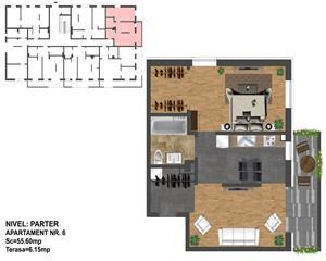 2 camere+ dressing -FINISAT LA CHEIE Ultramodern- 56 mp Zona